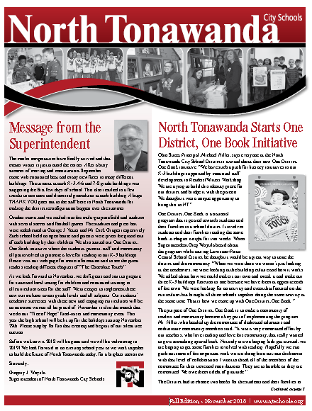 North Tonawanda Fall 2018 Newsletter cover screenshot