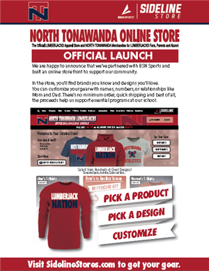 Sideline Store official launch flyer screenshot