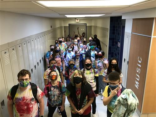 Students wearing tie-dye t-shirts